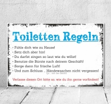 Vintage Shabby Holzschild Dekoschild Toiletten Regeln WC...