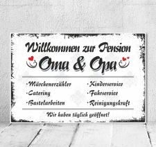 Vintage Shabby Holzschild Dekoschild Pension Oma Opa...