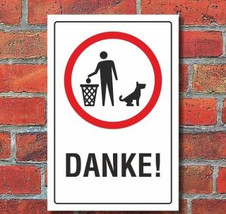 Schild Hundekot entfernen Hundeklo Hundehaufen Haufen einpacken 3 mm Alu-Verbund
