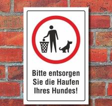 Schild Hundekot entfernen Hundeklo Hundehaufen Haufen...