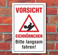 Schild Vorsicht Eichhörnchen Bitte langsam fahren...