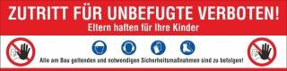 PVC Werbebanner Banner Plane Zutritt verboten Sicherheitsmaßnahmen Bau mit Ösen