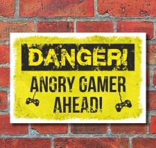 Schild Danger angry Gamer Gaming Zocker Geburtstag...