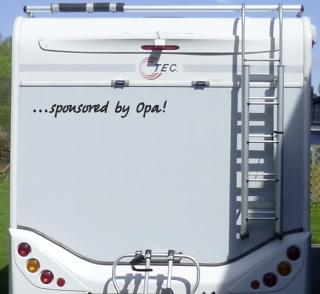 Aufkleber Sponsored by Opa Wohnmobil Wohnwagen Camper Camping Caravan Auto
