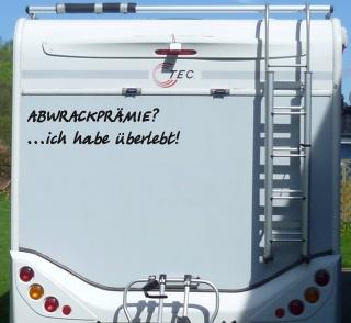 Aufkleber Abwrackprämie hab überlebt Wohnmobil Wohnwagen Camping Caravan Auto
