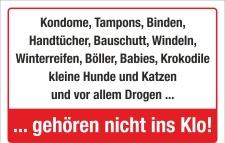Schild Hinweisschild Kondome Tampons Windeln Babies Hunde...
