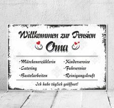 Vintage Shabby Holzschild Dekoschild Pension Oma...