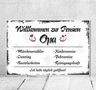 Vintage Shabby Holzschild Dekoschild Pension Oma Großvater Geburtstag Geschenk