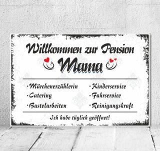Vintage Shabby Holzschild Dekoschild Pension Mama Mutter Geburtstag