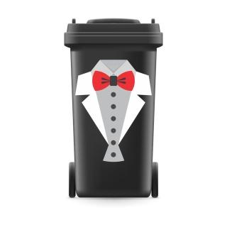 Mülltonnenaufkleber Mülltonne Mülleimer Abfalltonne Sticker Anzug Frack Fliege