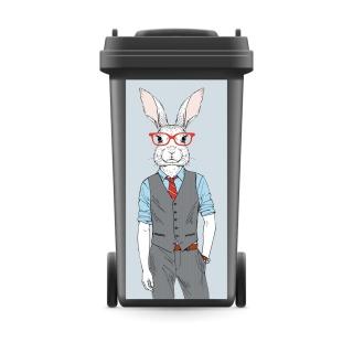 Mülltonnenaufkleber Mülltonne Mülleimer Abfalltonne Sticker Hase Anzug Kaninchen