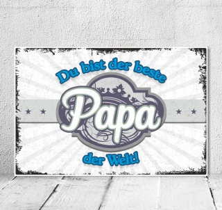 Vintage Shabby Holzschild Dekoschild Der beste Papa der Welt Geburtstag Geschenk