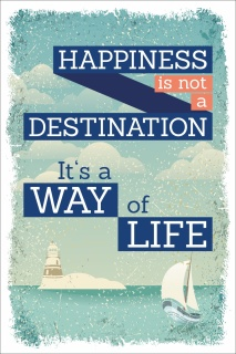 Vintage Shabby Holzschild Happiness is not a Destination Way of Life Geschenk