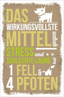 Vintage Shabby Holzschild Mittel gegen Stress Hund Fell Geburtstag Geschenk