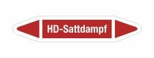 Rohrleitungskennzeichnung Aufkleber Etikett HD-Sattdampf...