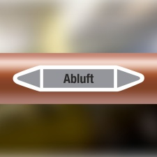 Rohrleitungskennzeichnung Aufkleber Etikett Abluft DIN...