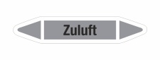 Rohrleitungskennzeichnung Aufkleber Etikett Zuluft DIN 2403 Luft