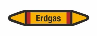 Rohrleitungskennzeichnung Aufkleber Etikett Erdgas DIN 2403 Brennbare Gase - 125 x 25 mm / 10 Stück