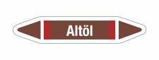 Rohrleitungskennzeichnung Aufkleber Altöl DIN 2403...