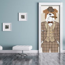 Türtapete Türposter Hund Bulldogge Anzug...
