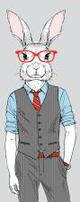 Türtapete Türposter Hase Kaninchen Anzug Brille...