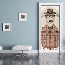Türtapete Türposter Hund Anzug Brille Hut...