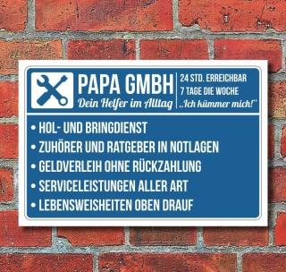 Schild Papa Gmbh Geschenk Geburtstag Vatertag 3 Mm Alu Verbund 7 49