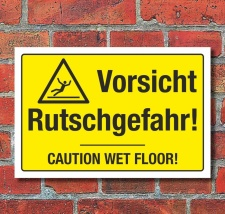 Schild Vorsicht Rutschgefahr Hinweisschild Caution Wet...