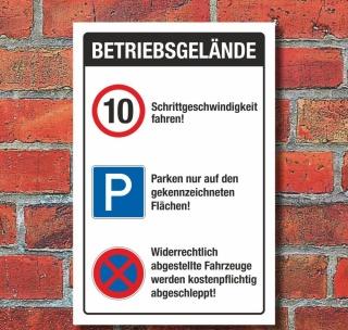 Schild Parkplatz Stellplatz Betriebsgelände Schrittgeschwindigkeit Alu-Verbund