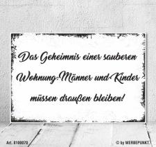 Vintage Shabby Holzschild Das Geheimnis einer sauberen...