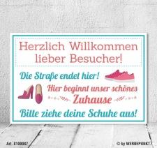 Vintage Shabby Holzschild Schuhe ausziehen Straße...