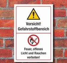 Schild Gefahrstoffbereich Feuer Licht Rauchen verboten 3...