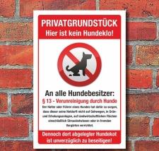 Schild Privatgrundstück Kein Hundeklo Haufen Kot...