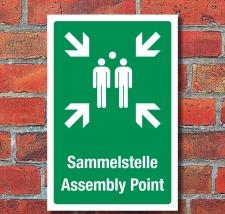 Schild Sammelstelle Sammelplatz Sammelpunkt Fluchtweg 3...
