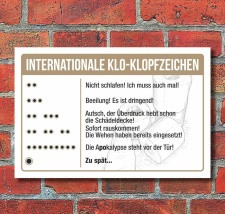 Schild Internationale Klo Klopfzeichen WC Toilette...