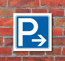 Schild Parkplatz Pfeil rechts Hinweisschild...