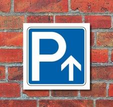 Schild Parkplatz Pfeil geradeaus Hinweisschild...