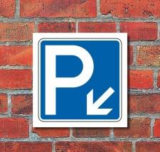 Schild Parkplatz Pfeil links abwärts Hinweisschild...