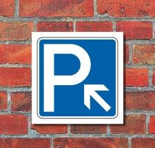 Schild Parkplatz Pfeil links aufwärts Hinweisschild...