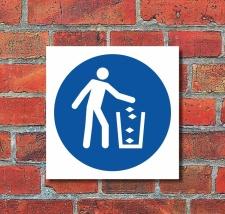 Schild Abfallbehälter benutzen Gebotsschild...