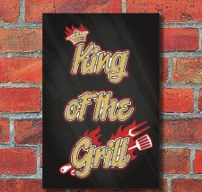 Schild King of the Grill Barbecue grillen Geschenk...