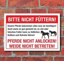 Schild Achtung Pferde nicht füttern Kolikgefahr...