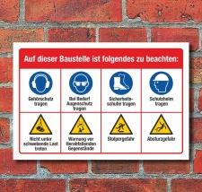Schild Baustellenschild Sicherheitshinweise Gebote...