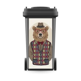 Mülltonnenaufkleber Mülltonne Mülleimer Abfalltonne Tier Bär Brille Hut