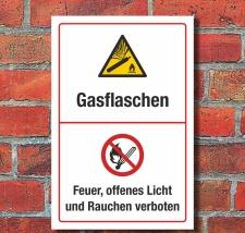 Schild Gasflaschen Gas Feuer Licht Rauchen verboten 3 mm...