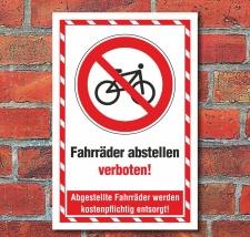 Schild Fahrräder abstellen verboten Entsorgen...