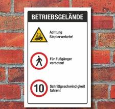Schild Betriebsgelände Staplerverkehr...