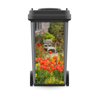 Mülltonnenaufkleber Mülltonne Mülleimer Abfalltonne Rote Tulpen Blumen Natur