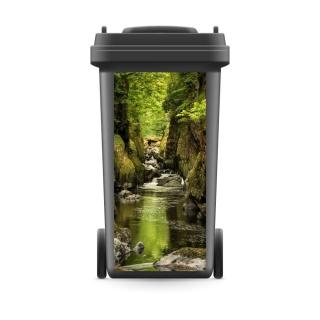 Mülltonnenaufkleber Mülltonne Mülleimer Abfalltonne Fluss Wald Natur Bach