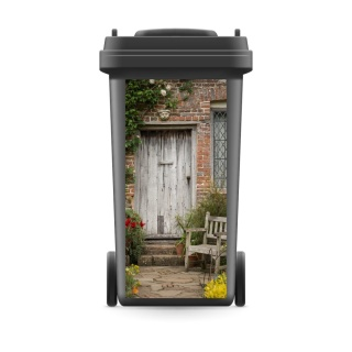 Mülltonnenaufkleber Mülltonne Mülleimer Abfalltonne Sticker Tür Holzstuhl Garten - 800 x 370 mm